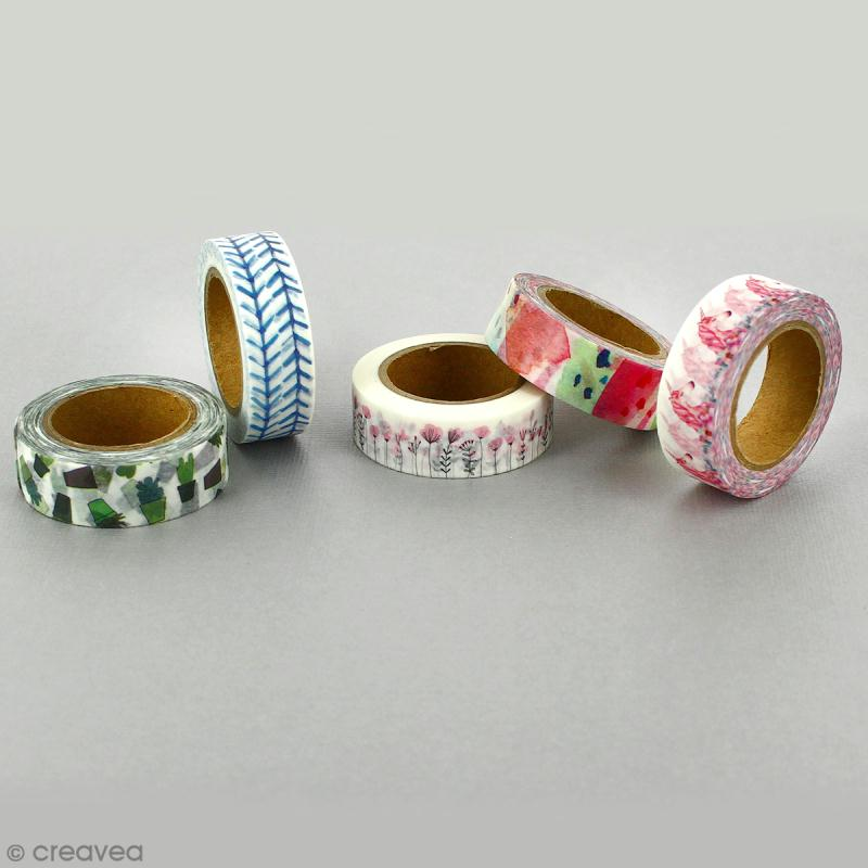 Lot masking tape Noeuds, fleurs, moustaches - 0,5 cm x 5 m - 3 pcs - Photo n°3