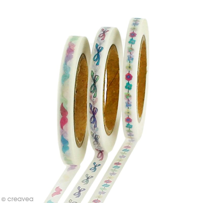 Lot masking tape Noeuds, fleurs, moustaches - 0,5 cm x 5 m - 3 pcs - Photo n°1
