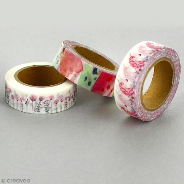 Lot masking tape Noeuds, fleurs, moustaches - 0,5 cm x 5 m - 3 pcs - Photo n°4