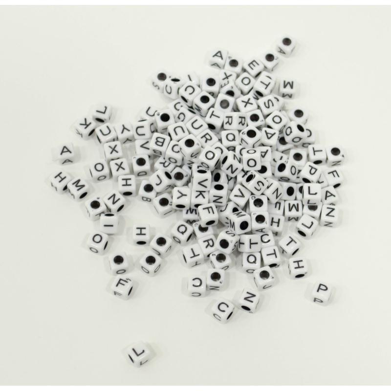 50 perle 6mm blanche lettre alphabet cube braclet attache - Porte cles en bois ...