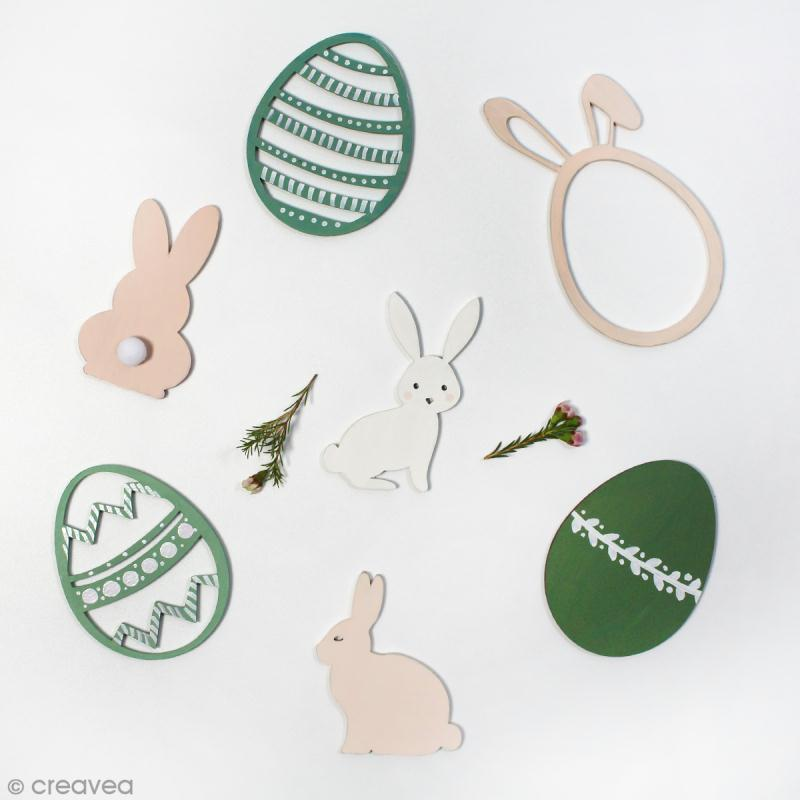 Grand oeuf de Pâques en bois à décorer - 12 cm - Photo n°2