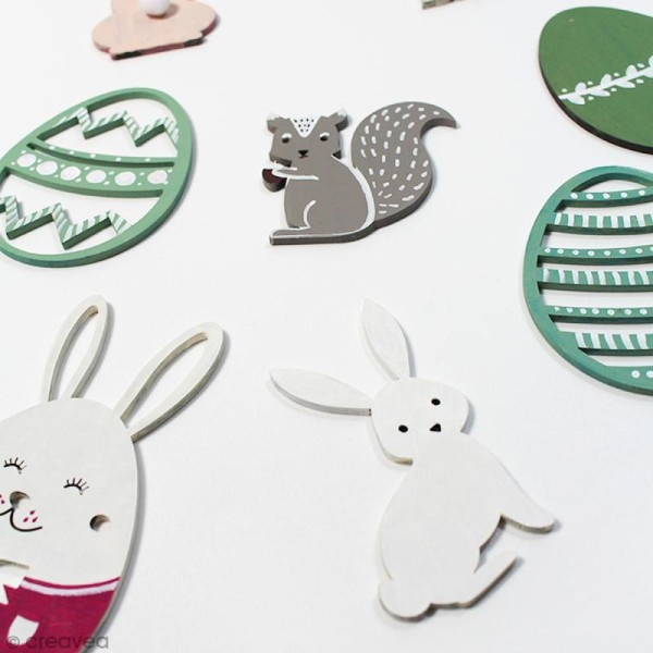 Oeuf de Pâques rayé en bois à décorer - 8 cm - Photo n°2