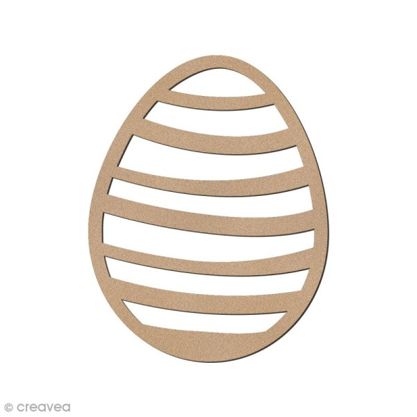 Oeuf de Pâques rayé en bois à décorer - 8 cm - Photo n°1