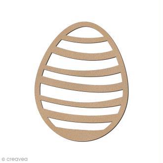Oeuf de Pâques rayé en bois à décorer - 8 cm
