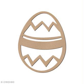 Oeuf de Pâques zig zag en bois à décorer - 8 cm