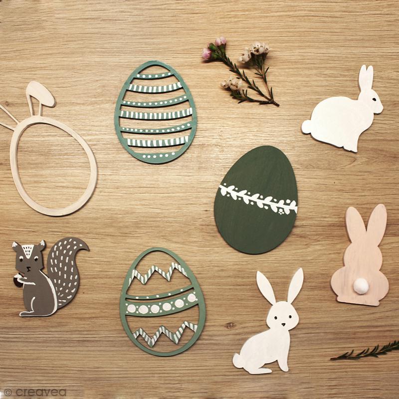 Oeuf de pâques oreilles de lapin en bois à décorer - 12 cm - Photo n°3
