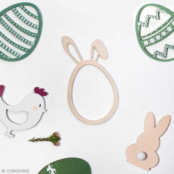 Oeuf de pâques oreilles de lapin en bois à décorer - 12 cm - Photo n°2