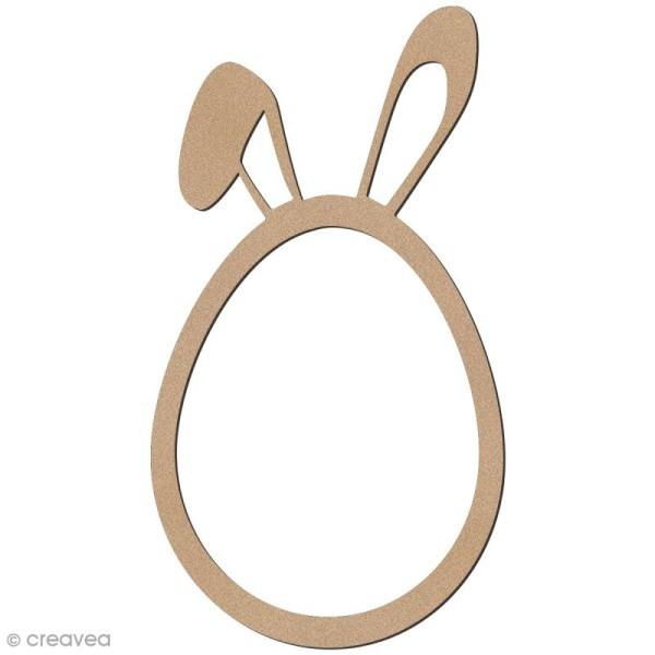 Oeuf de pâques oreilles de lapin en bois à décorer - 12 cm - Photo n°1