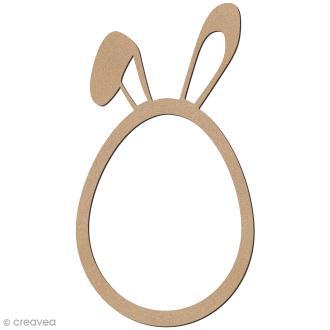 Oeuf de pâques oreilles de lapin en bois à décorer - 12 cm