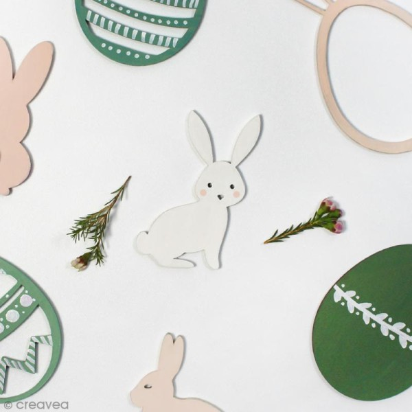 Lapin de Pâques assis en bois à décorer - 8 cm - Photo n°2