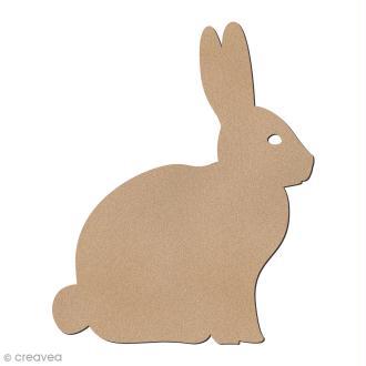 Lapin de Pâques profil en bois à décorer - 7,5 cm