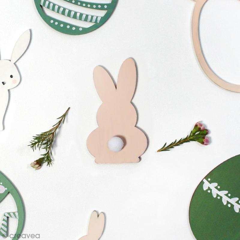 Silhouette lapin de Pâques en bois à décorer - 8 cm - Photo n°2