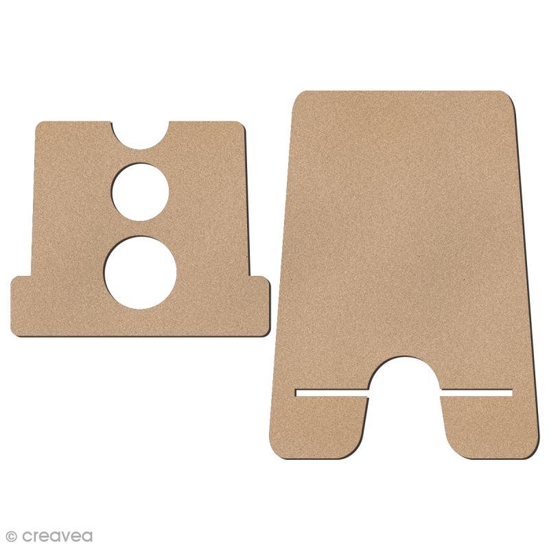 Kit support pour téléphone portable en bois à décorer - 2 pcs - Photo n°2
