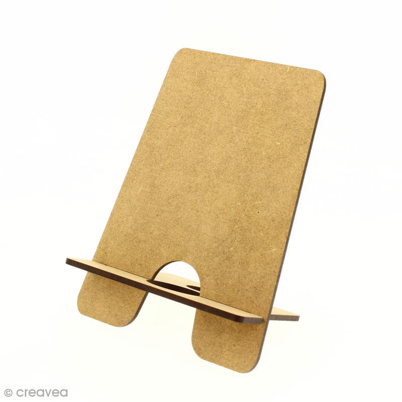Kit support pour téléphone portable en bois à décorer - Photo n°1