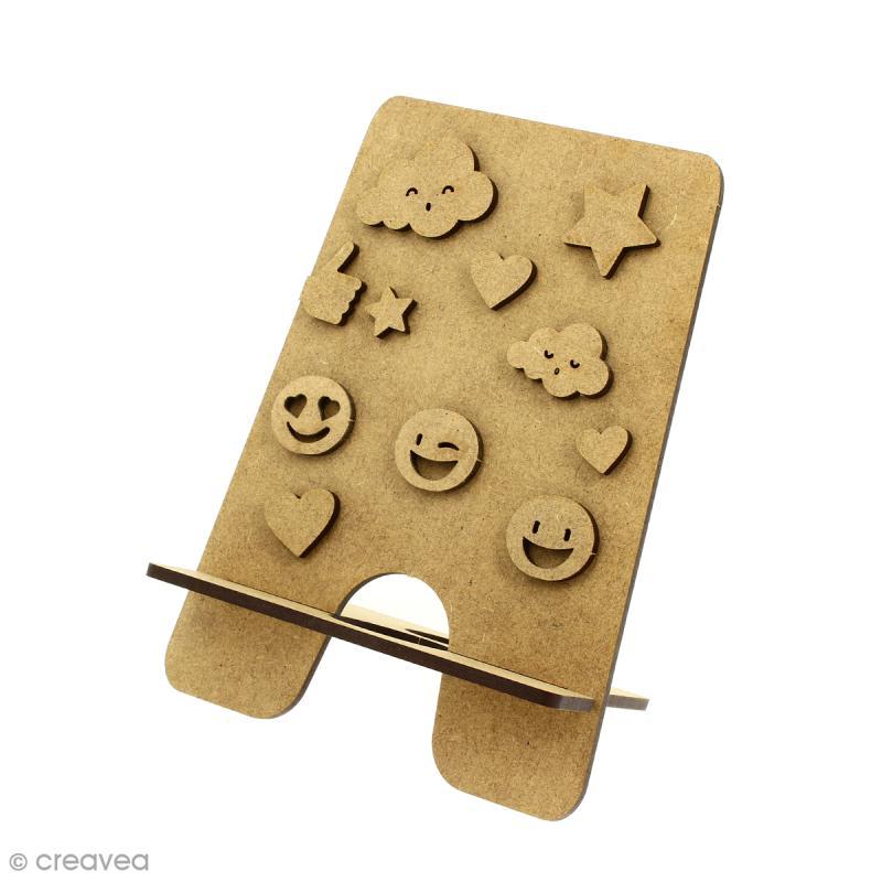 Kit support pour téléphone portable en bois à décorer et décorations - 13 pcs - Photo n°2