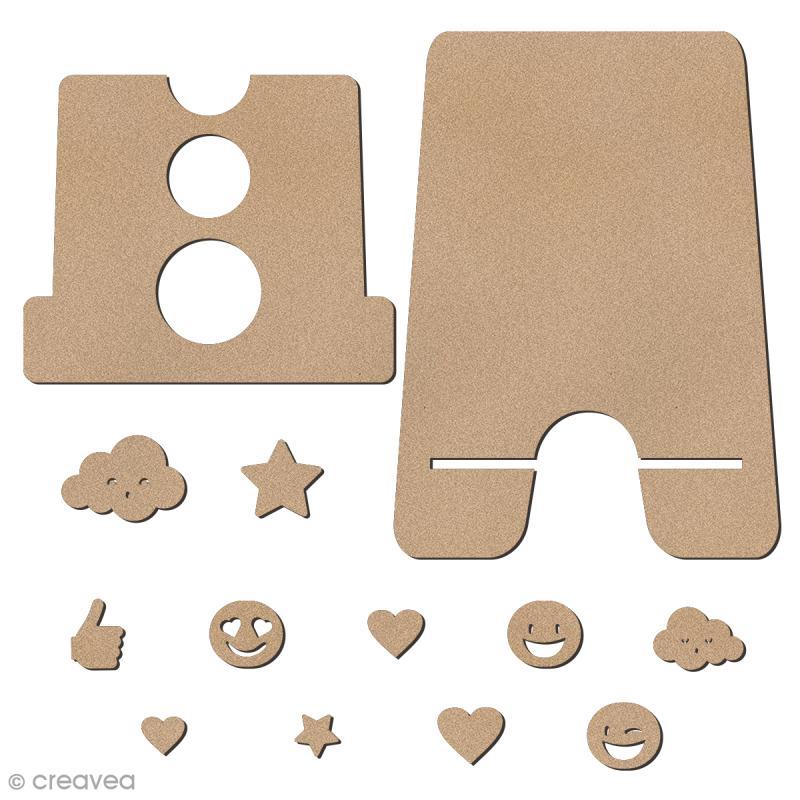 Kit support pour téléphone portable en bois à décorer et décorations - 13 pcs - Photo n°3