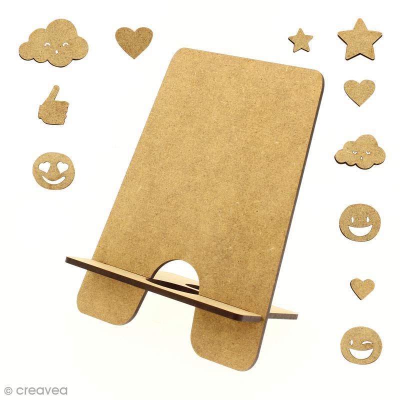 Kit support pour téléphone portable en bois à décorer et décorations - 13 pcs - Photo n°1