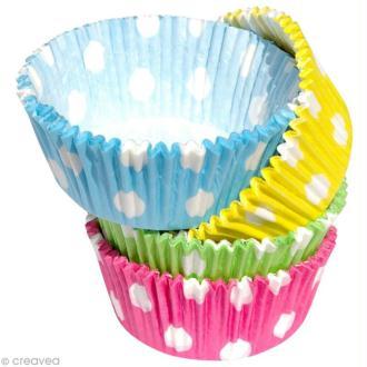 Caissettes cupcakes en papier Pois - env 60 pcs
