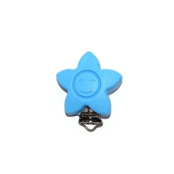 Attache tétine silicone étoile bleu - Photo n°1