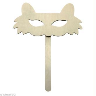 Masque en bois Chat - 24 cm
