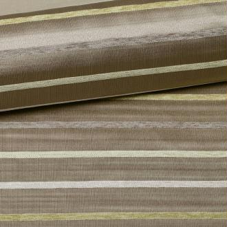Tissu rayure horizontale - Vert, grège- Par 50cm