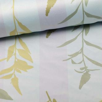 Tissu non feu à rayures et végétaux - Bleu- Par 50cm