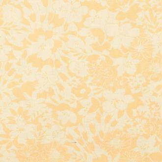 Tissu coton île fleuri - Jaune & orangé- Par 50cm