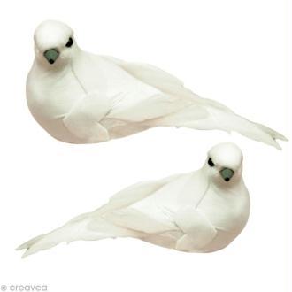 Oiseau blanc sur pince x 2