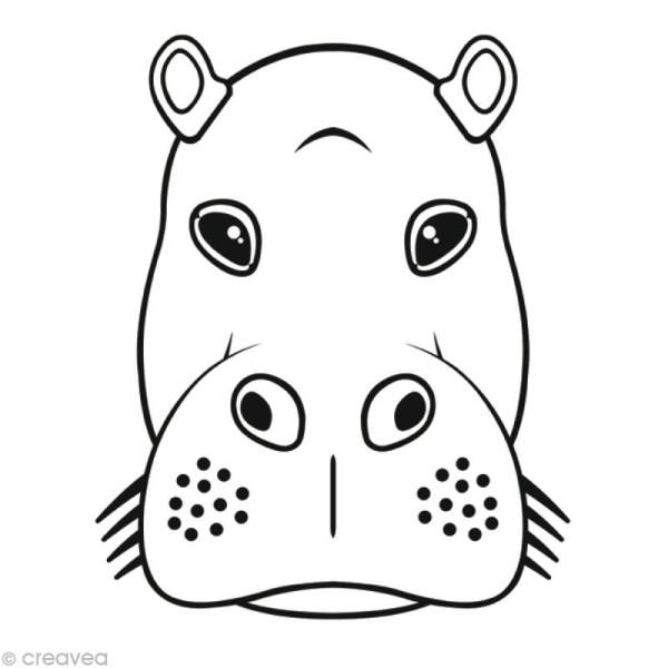 Masque 3D à peindre et monter - Hippopotame 26 cm - Photo n°1