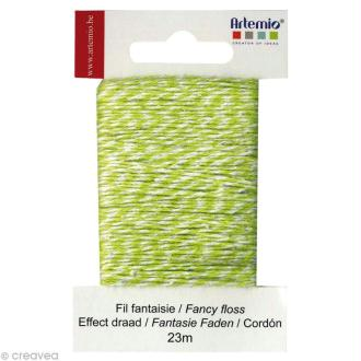 Ficelle bicolore twine Vert anis 1 mm x 23 m