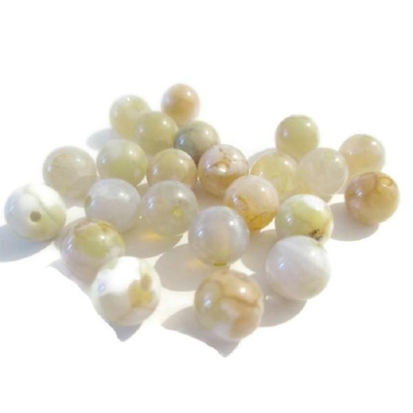 Lot de 10 perles jaune naturelles 8mm