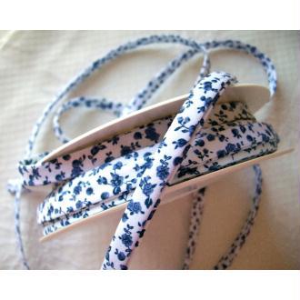 Biais ruban liberty 8 mm fleur bleu marin coton  - au mètre