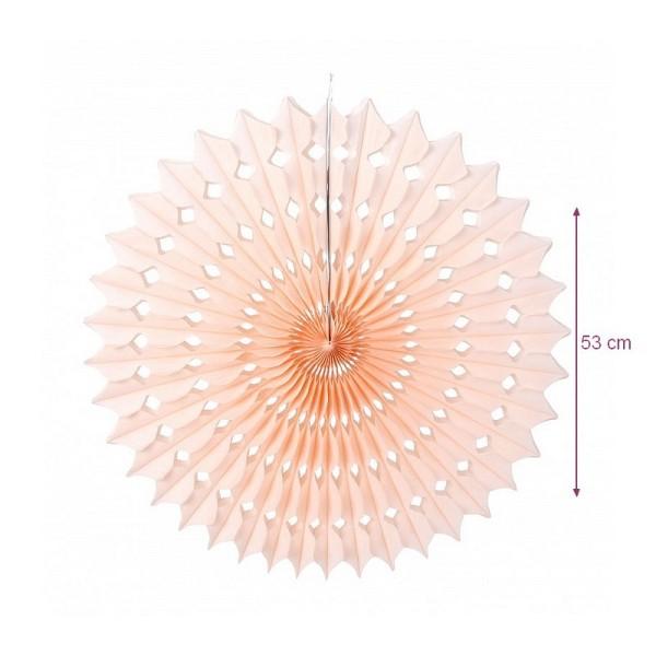 Grand Éventail alvéolé couleur Rose Vintage, dim.53 cm, Papier de Soie à suspendre - Photo n°1
