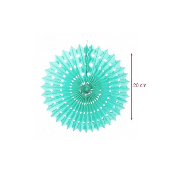 Petit Éventail alvéolé couleur Vert Menthe, dim.20 cm, Papier de Soie Celadon à suspendre - Photo n°1