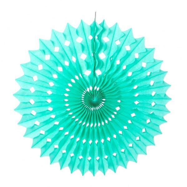 Grand Éventail alvéolé couleur Vert Menthe, dim.53 cm, Papier de Soie Celadon à suspendre - Photo n°1