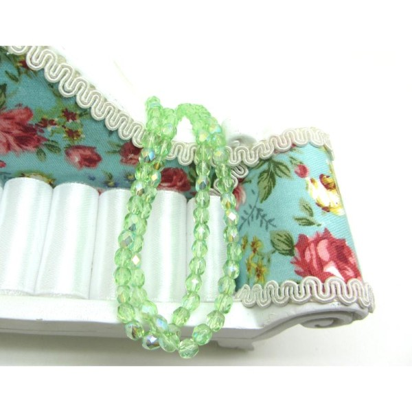Lot  20 perles Facettes verre de Bohême - Peridot AB - 4 mm - Photo n°1