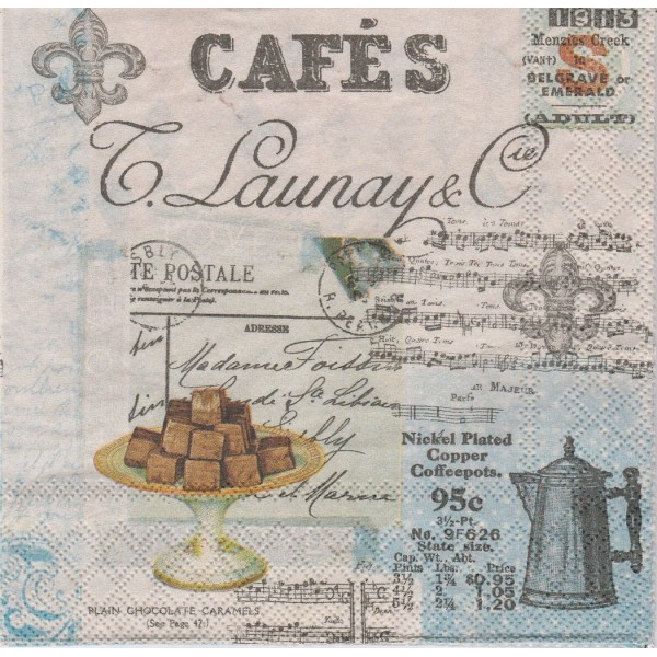 4 Serviettes en papier Café Collage Vintage Format Lunch - Photo n°1