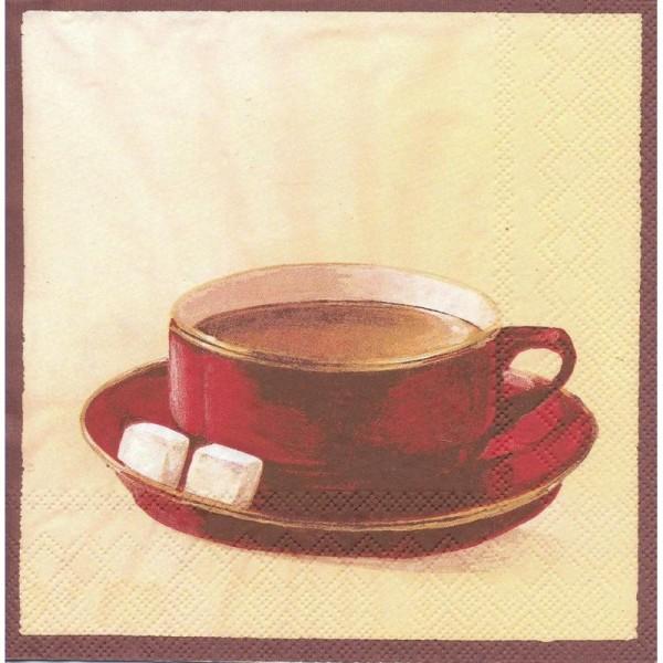 4 Serviettes en papier Tasse de café Format Lunch - Photo n°1