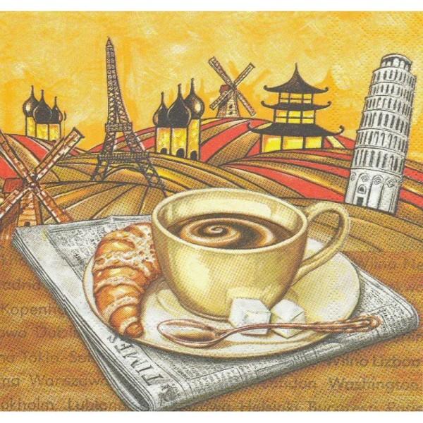 4 Serviettes en papier Café Croissant Monument Format Lunch - Photo n°1