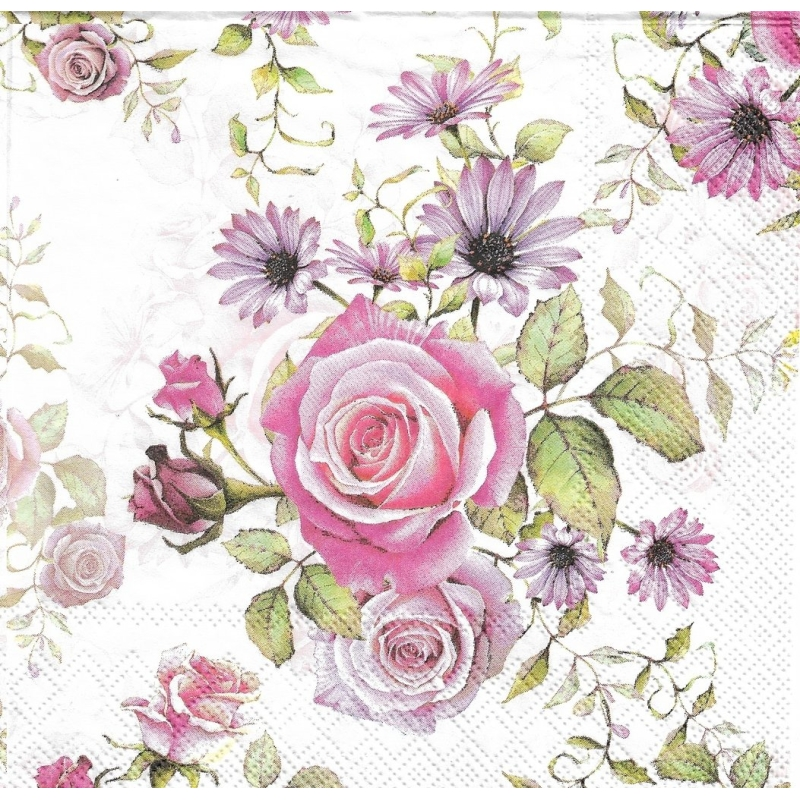 4 serviettes en papier roses madeline format lunch serviette fleurs creavea. Black Bedroom Furniture Sets. Home Design Ideas