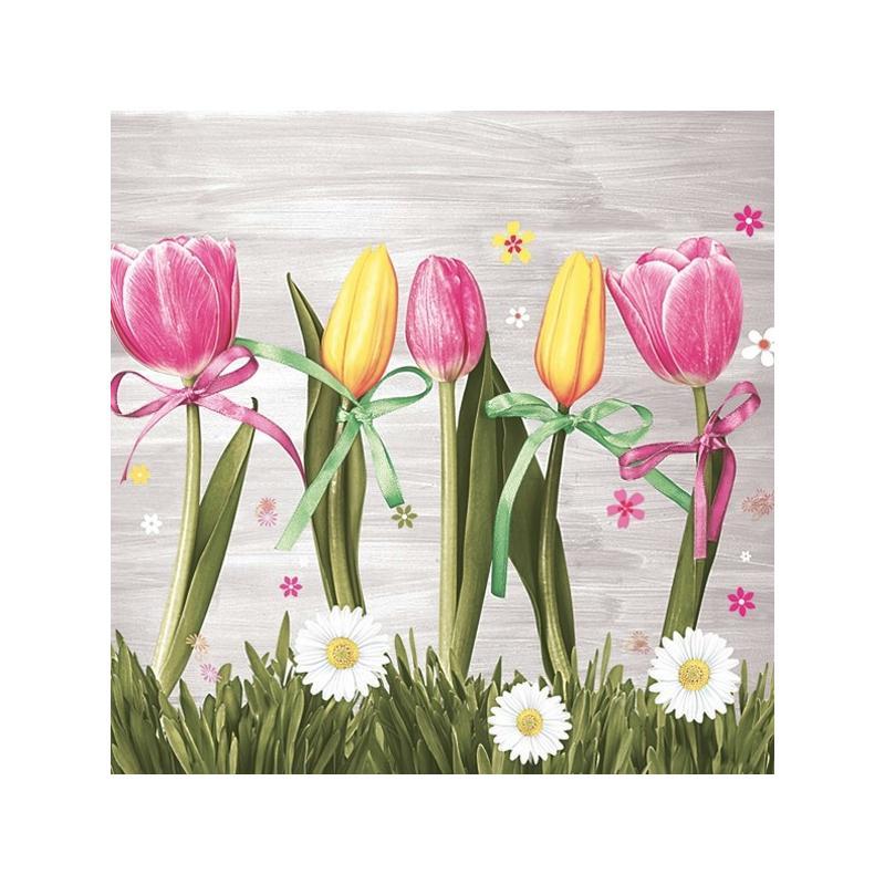 4 serviettes en papier d coupage collage 33 cm tulipe rose et jaune f202 serviette fleurs. Black Bedroom Furniture Sets. Home Design Ideas