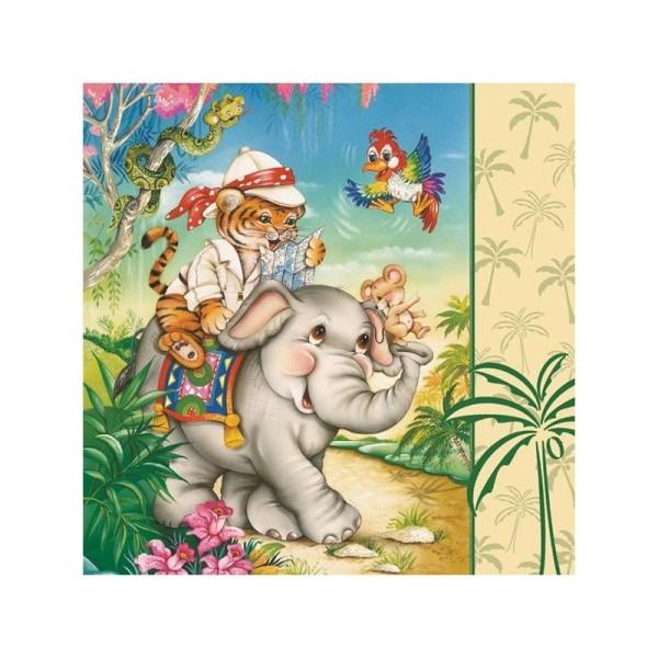 4 serviettes en papier découpage collage 33 cm SAFARI ANIMAL - Photo n°1