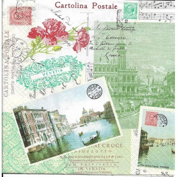 4 Serviettes en papier Venise Format Lunch - Photo n°2