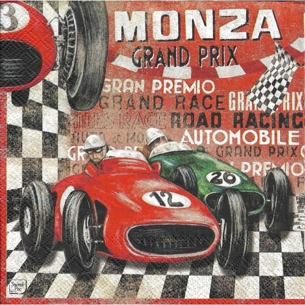 4 Serviettes en papier Grand Prix Monaco Format Lunch Decoupage Decopatch LU211410 Sweet Pac - Photo n°2