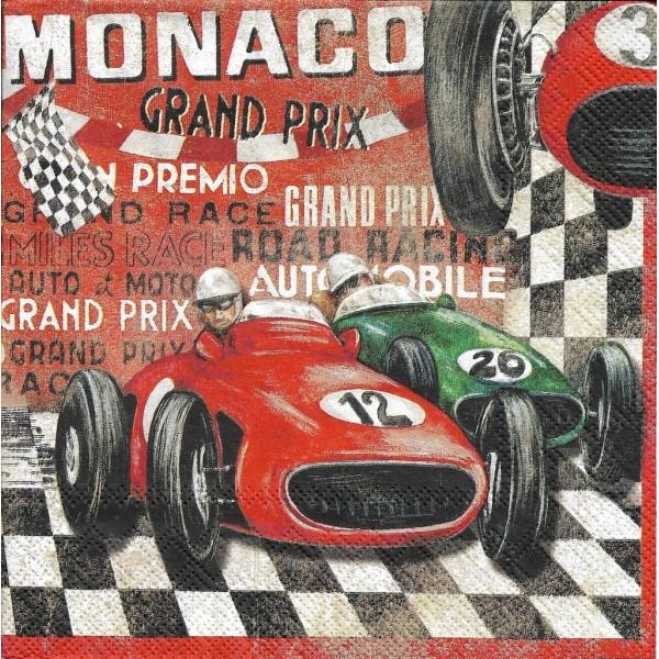 4 Serviettes en papier Grand Prix Monaco Format Lunch Decoupage Decopatch LU211410 Sweet Pac - Photo n°1