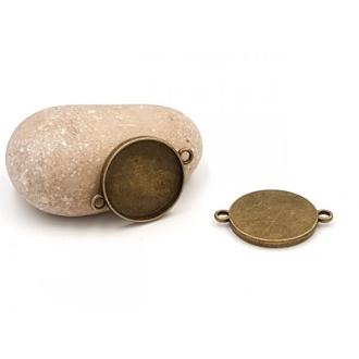 10 Connecteurs Supports Cabochon Plateau 20mm Couleur Bronze