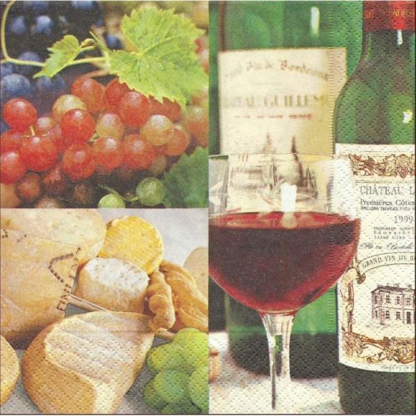 4 Serviettes en papier Dolce Vita Vin Raisin Fromage Format Lunch - Photo n°1
