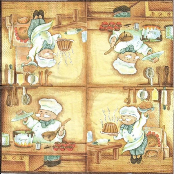 4 Serviettes en papier Métier Boulanger Format Lunch - Photo n°2
