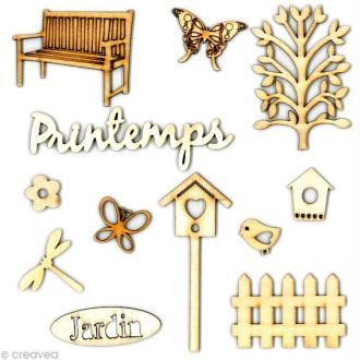 Formes en bois Printemps - Assortiment 12 pièces
