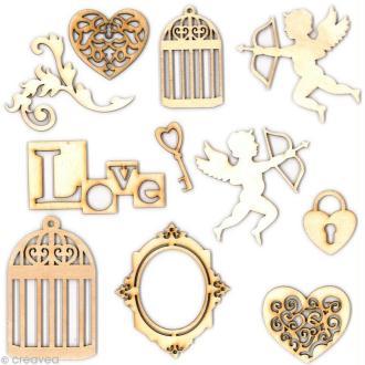 Formes en bois Cupidon - Assortiment 12 pièces